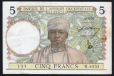 Africa Occidentala 5 Francs s6451 1939