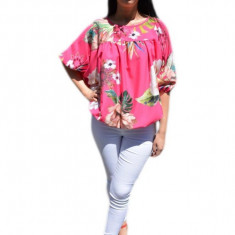 Bluza rafinata, vaporoasa de vara , roz cu flori multicolore