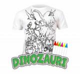 Tricou de colorat cu markere lavabile Dinozauri 3-4 ani