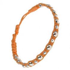 Brățară împletită din șnur de culoare portocalie mărgele metalice mici și mari