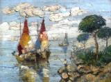 Deosebit! Tablou AUTENTIC, ulei/panza Rudolf NEGELY. 80x60cm+rama., Marine, Art Nouveau