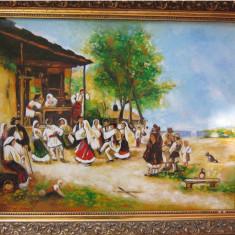 Tablou / Pictura Hora de la Aninoasa semnat Cimpoesu dupa Theodor Aman, Scene gen, Ulei, Realism