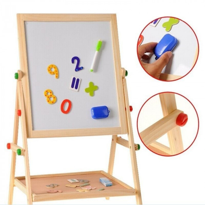 Tablita magnetica cu 2 fete, marker, burete, creta, cifre magnetice, suport lemn, 35x31cm
