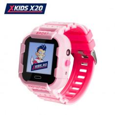 Ceas Smartwatch Pentru Copii Xkids X20 cu Functie Telefon, Localizare GPS, Apel monitorizare, Camera, Pedometru, SOS, IP54, Incarcare magnetica, Roz,