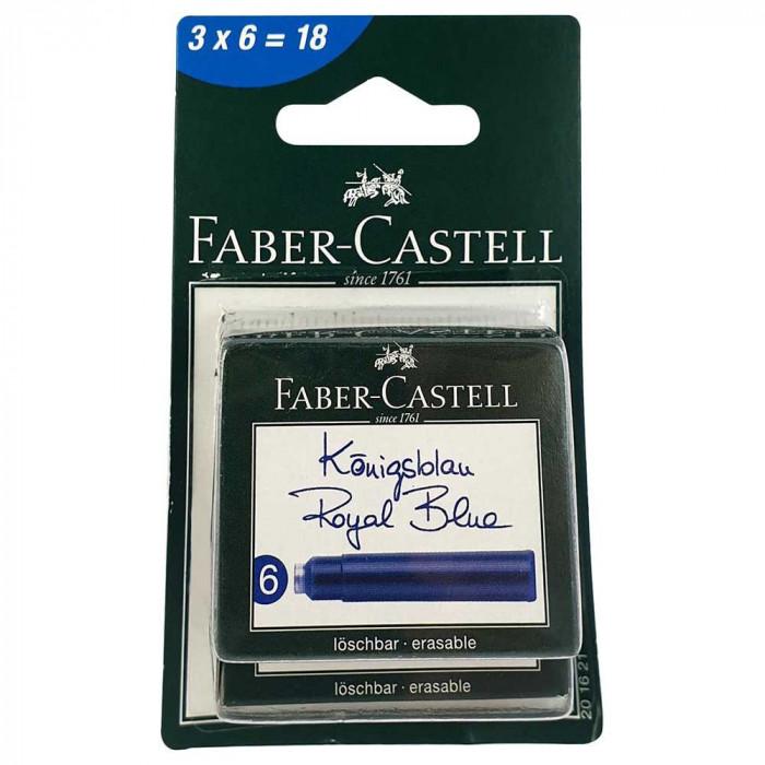 Blister 3 cutii x 6 cartuse cerneala albastre Faber-Castell