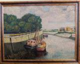 Tablou deosebit - pictură în ulei – canal Sena, Paris, tehnica in pasto, Peisaje, Impresionism