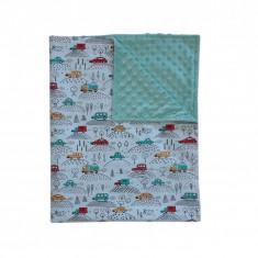 Ingrid's Fabrics Paturica bebelusi Minky - Masinute - Mint 75x95cm