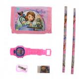 Set ceas, pentru copii, cu Sofia, portofel si rechizite cadou - 5018635