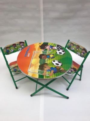 Masa rotunda pentru copii cu 2 scaune pliabile foto