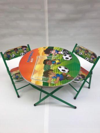 Masa rotunda pentru copii cu 2 scaune pliabile