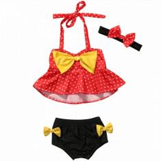 Costum de baie fetite  3 piese cu buline rochita +bentita +slip, Rosu, 1-2 ani