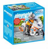 Playmobil City Life, Rescue - Motocicleta de urgenta cu lumini