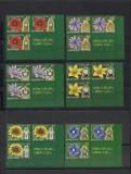 2013- Ceasul florilor I  bloc de 3 timbre+vigneta coala posta, Flora, Nestampilat