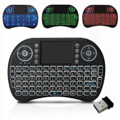 Mini Tastatura wireless 2.4 GHz iluminata RGB, pentru TV Box si Mini PC, Android OS, Smart TV