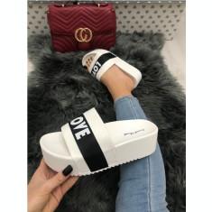 Papuci dama albi cu platforma marime  41+CADOU