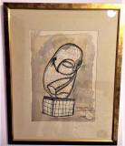 "Pictura Tablou Paul Neagu ""Domnisoara Pogany - Brancusi"", Abstract, Acuarela"