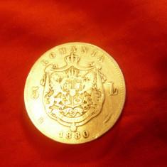 Moneda 5 lei 1880 Carol I  , semnatura sub gat cal. medie-buna  ,argint