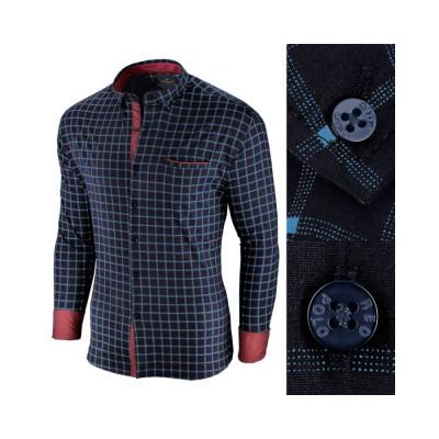 Camasa pentru barbati, in carouri, bleumarin, premium, slim fit, casual - Red Polo foto