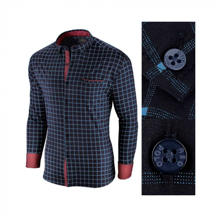 Camasa pentru barbati, in carouri, bleumarin, premium, slim fit, casual - Red Polo