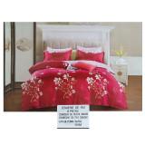 Lenjerie pat dublă, bumbac satinat, 6 piese, model floral rosu