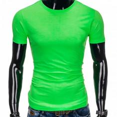 Tricou pentru barbati verde simplu slim fit mulat pe corp bumbac S884