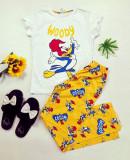 Pijama dama bumbac ieftina cu tricou alb si pantaloni galbeni cu imprimeu WY