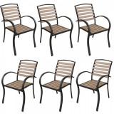 Set 6 scaune cu brate POLYWOOD NATURAL 86x40x45cm B003052-95314 Raki