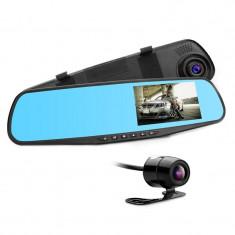Camera Video Auto Discreta tip Oglinda cu Doua Camere Full HD Fata/Spate Techstar® L9000, Model Slim 9mm Grosime