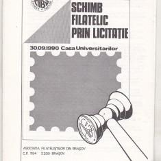 bnk fil Catalogul Primul schimb filatelic prin licitatie Brasov 1990