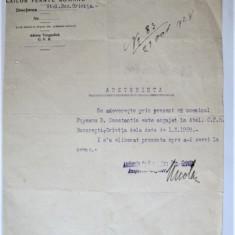 Document vechi - Adeverinta CFR Atelierele de Locomotive Grivita Bucuresti, 1928