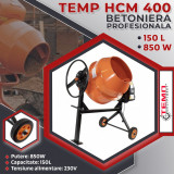 Betoniera profesionala TEMP HCM 400, 150 L, 850 W