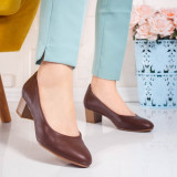 Pantofi cu toc mic dama maro Biledia