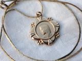 MEDALION splendid FECIOARA MARIA placat cu AUR superb RAR pe Lant placat cu aur