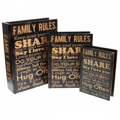 Set 3 casete, de bijuterii, tip carte, din lemn, vintage - 221135