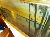 "Pictura veche gigant in ulei pe panza ""APUS DE SOARE"",semnat, Marine, Altul"
