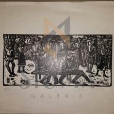 MARCEL OLINESCU, HORA - XILOGRAVURA