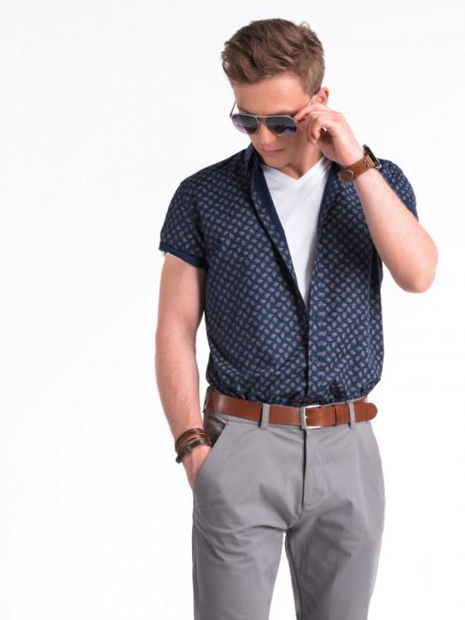 Camasa premium, cu maneca scurta, barbati - K473-bleumarin-maro