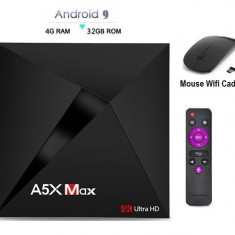 Mini PC TV Box, Media player 4K, A5X Max Android 9.0, 4gb/32gb 4k, Bluetooth, Netflix