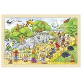 Puzzle Gradina Zoologica Goki, 30 x 20 x 0.8 cm, 24 piese, lemn, 4 ani+