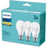 Set de 3x Bec LED 14W (100W), E27, lumina calda, temperatura culoare 2700K, Philips