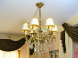 Lustra bronz dore deluxe Art Nouveau cristale Austria 6 lumini antique