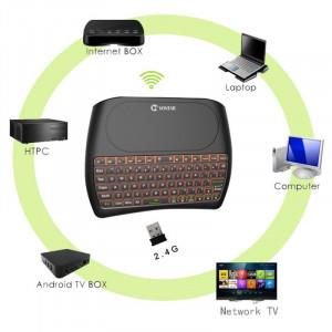 Tastatura Wireless Techstar® Vontar D8, Iluminata, 7 Culori, Android TV, PC, Smart