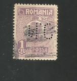 No(08)timbre-Romania 1919-L.P.73-UZUALE FERDINAND-PERFIN  N.C.-1 LEU