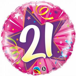 Balon aniversar 21 ani bleu din folie metalizata 43cm