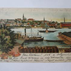 Ungaria,litografie Budapesta,carte postala circulata 1900