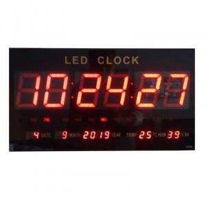 Ceas digital de perete, LED, functie alarma, afisaj temperatura