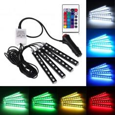 Lumina ambientala auto LED RGB, 4 benzi autoadezive, 6W, 4 moduri, telecomanda