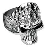 Inel din oțel inoxidabil - craniu cu flăcări - Marime inel: 62