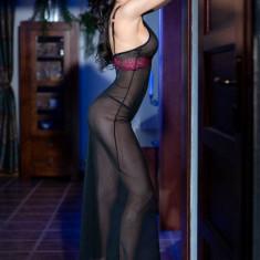 Rochita Sexy Lunga Si Chilotei String, Model CR 4215, Negru/Roz, L