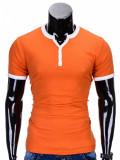 Tricou pentru barbati portocaliu simplu slim fit mulat pe corp bumbac S651